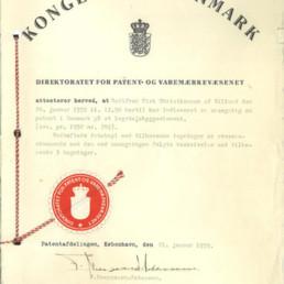 Bewijs patentaanvraag door Godtfred Kirk Christansen 1959