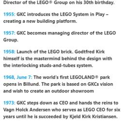 Godtfred Kirk Christiansen Milestones