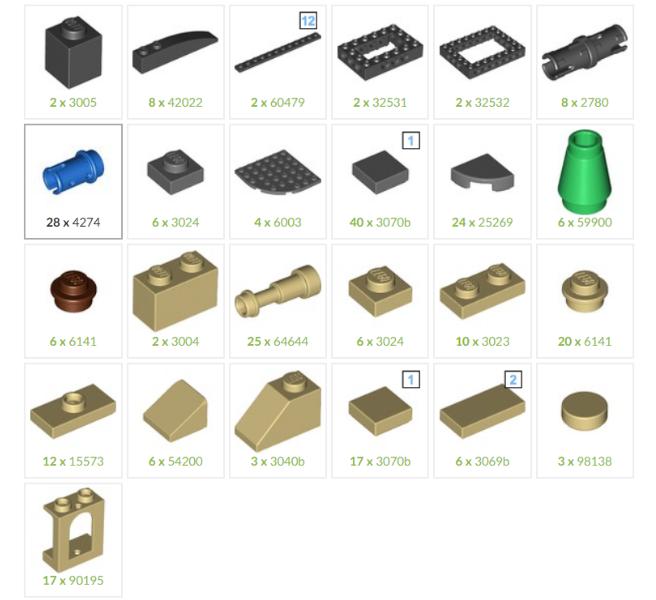 [Bouwinstructies] LEGO Colosseum Mini Set - parts list