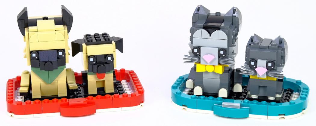 LEGO BrickHeadz Shorthair Cat & Kitten – German Shepherd & Puppy