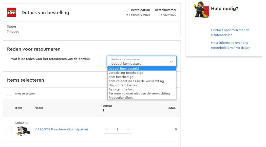 Retourzending LEGO nu ook online aan te vragen