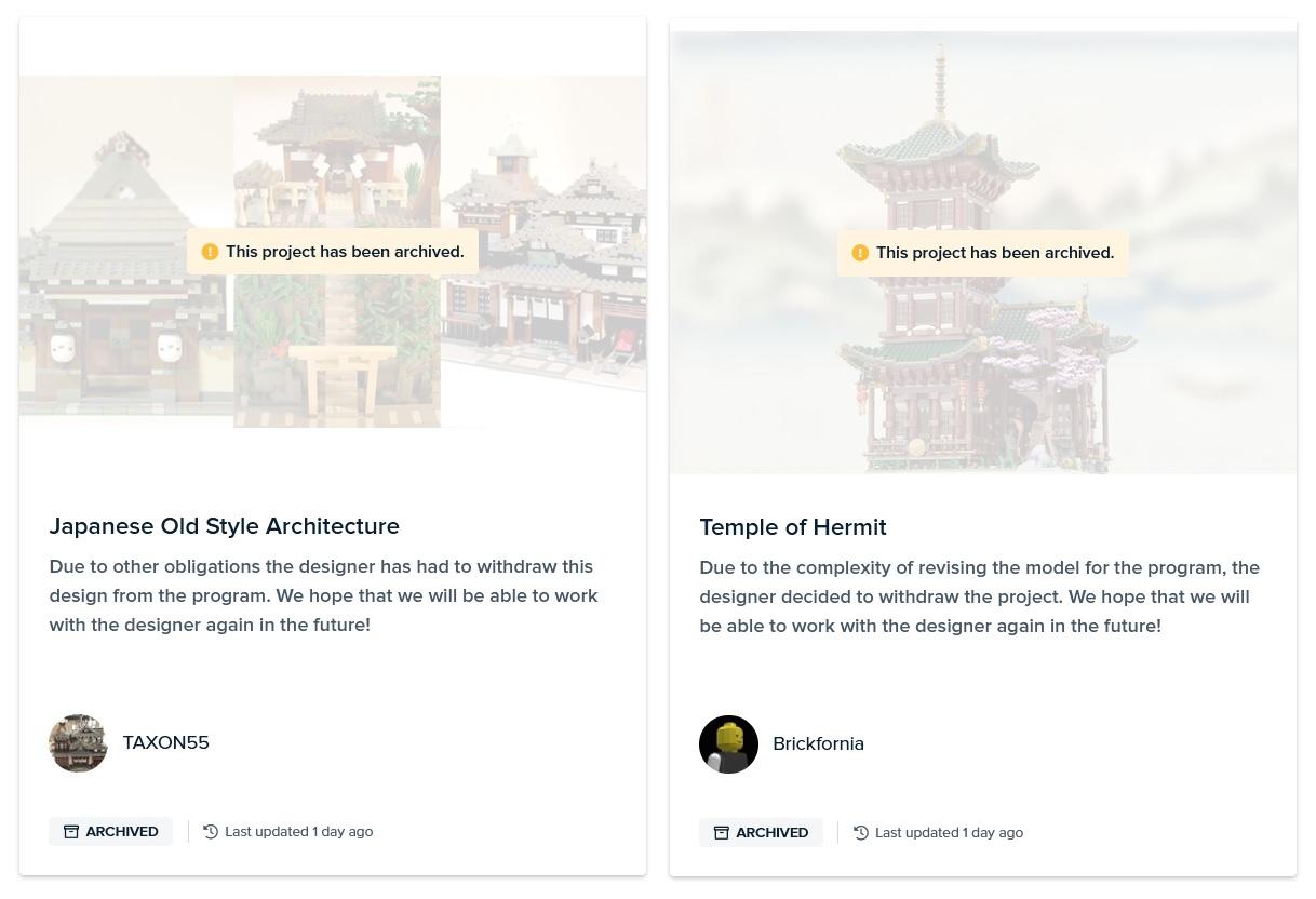 Twee Bricklink Designer Program projecten gearchiveerd