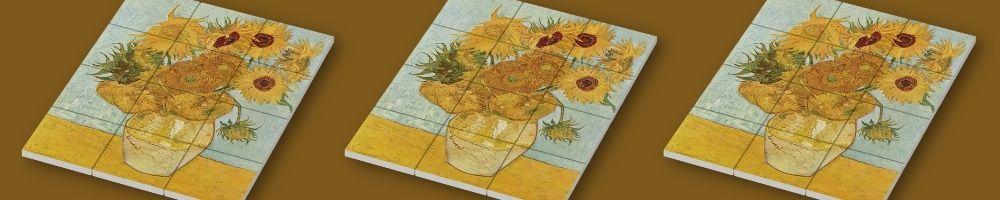 Zonnebloemen schilderij van Vincent van Gogh bestaande uit 12 2x2 Tiles van Bedrukjeblokje.nl
